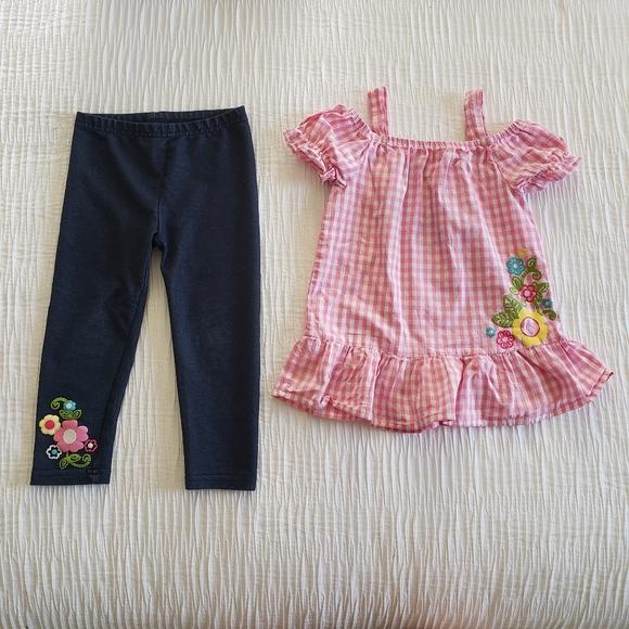 healthtex Other - 2Pc Set Pink Blue Flower Jean's Dress Top Leggings